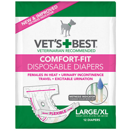"Vet's Best Comfort-Fit Disposable Female Dog Diaper 12 pack Large / Extra Large White 8.25"" x 5"" x 6.38"" - ViTaiLity Pet Supply"
