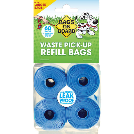 Bags on Board Waste Pick-Up Refill Bags 60 count Blue - ViTaiLity Pet Supply