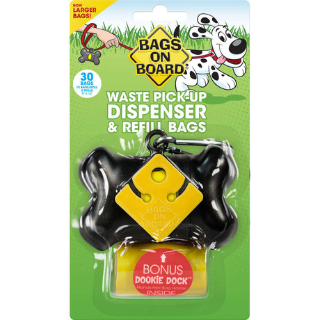 Bags on Board Waste Pick-Up Dispenser and Refill Bags with Dookie Dock 30 bags Black - ViTaiLity Pet Supply
