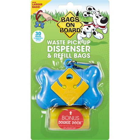 Bags on Board Waste Pick-Up Dispenser and Refill Bags with Dookie Dock 30 bags Blue - ViTaiLity Pet Supply