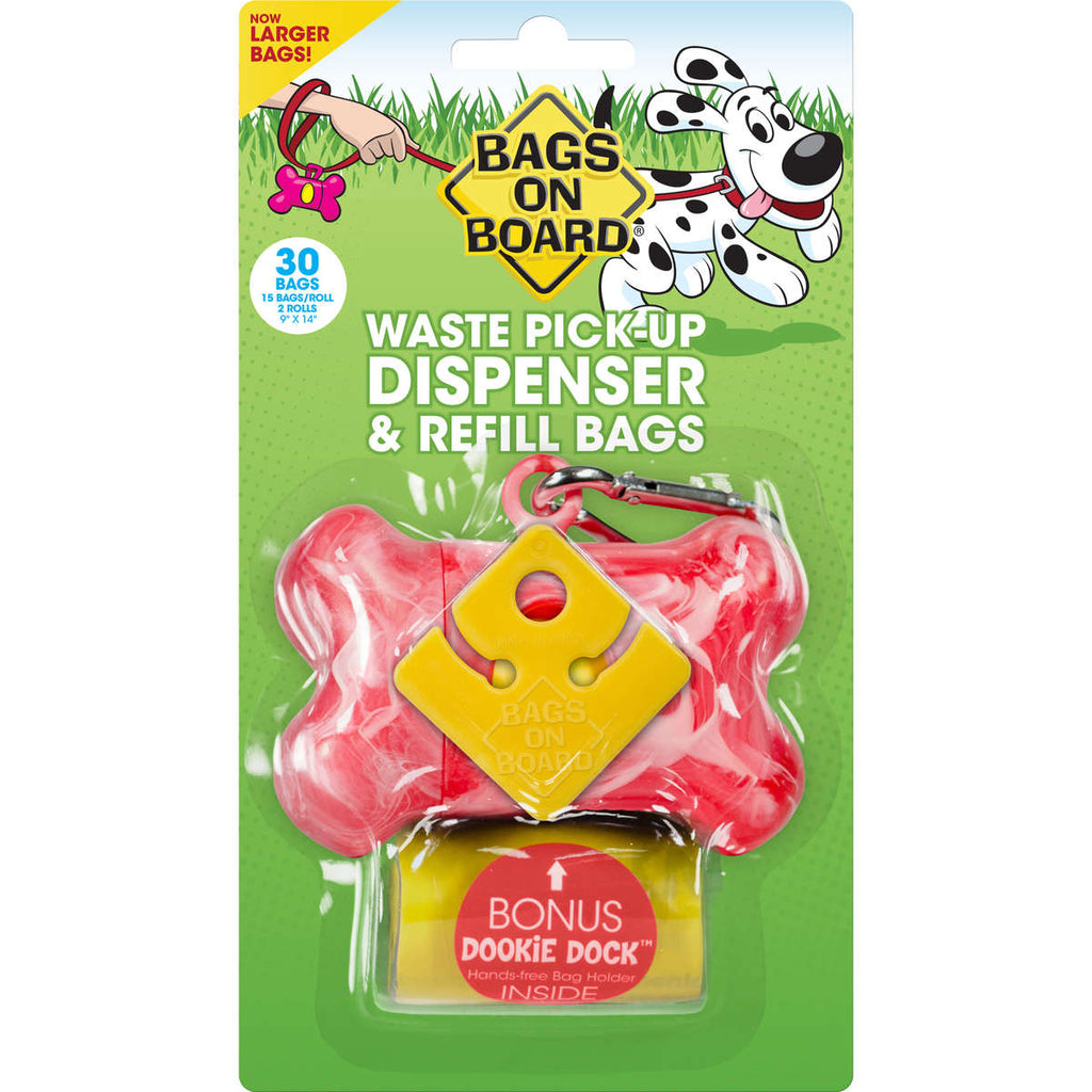 Bags on Board Waste Pick-Up Dispenser and Refill Bags with Dookie Dock 30 bags Pink - ViTaiLity Pet Supply