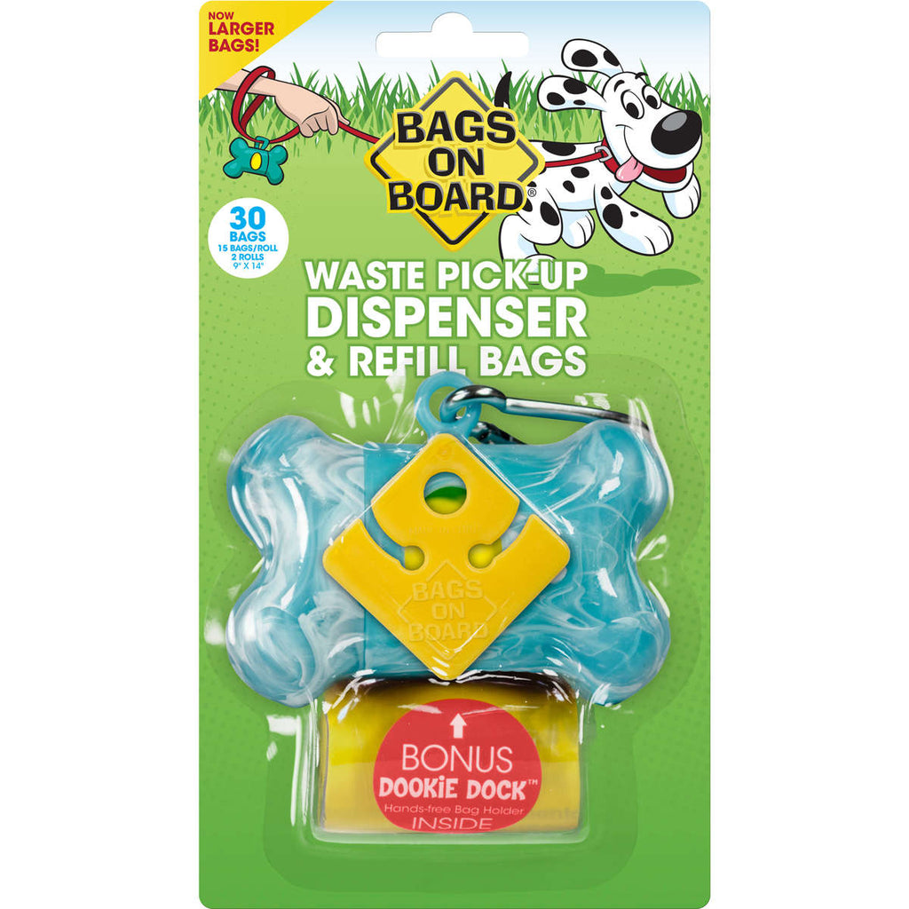 Bags on Board Waste Pick-Up Dispenser and Refill Bags with Dookie Dock 30 bags Turquoise - ViTaiLity Pet Supply