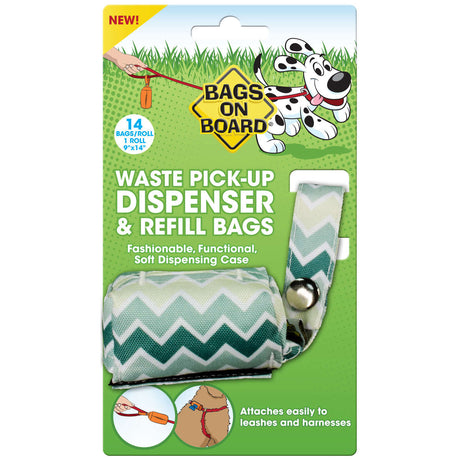 Bags on Board Fashion Dispenser and Poop Bag Refills Chevron Print 14 bags Green - ViTaiLity Pet Supply
