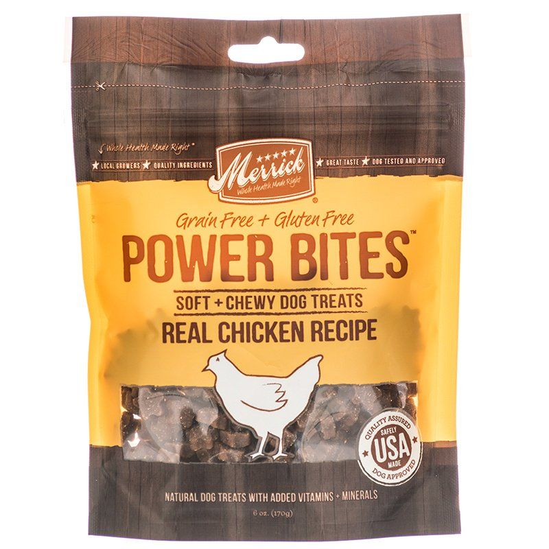 Merrick Power Bites Soft & Chewy Dog Treats - Real Chicken Recipe - ViTaiLity Pet Supply