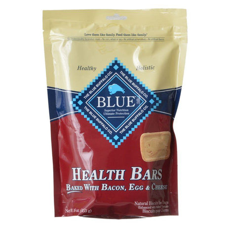 Blue Buffalo Health Bars Dog Biscuits - Baked with Bacon, Egg & Cheese  16 oz - ViTaiLity Pet Supply