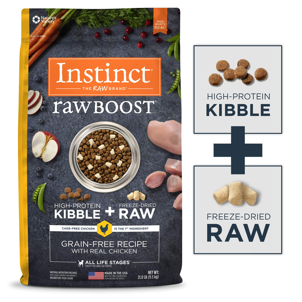 Instinct Raw Boost Grain Free Recipe with Real Chicken Natural Dry Dog Food by Nature's Variety, 21 lb. Bag - ViTaiLity Pet Supply
