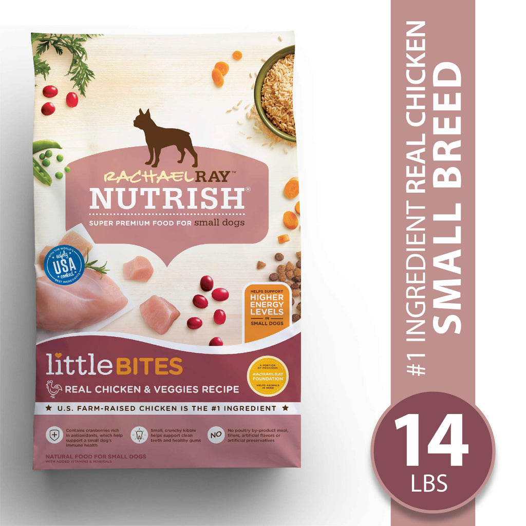 Rachael Ray Nutrish Little Bites Small Breed Premium Natural Dry Dog Food, Real Chicken & Veggies Recipe, 14 Lbs - ViTaiLity Pet Supply