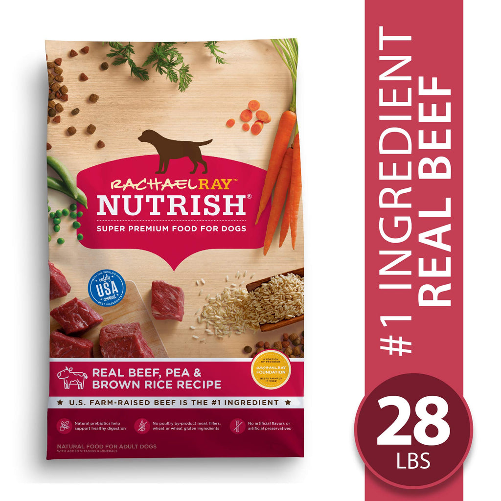 Rachael Ray Nutrish Premium Natural Dry Dog Food, Real Beef, Pea, & Brown Rice Recipe, 28 Lbs - ViTaiLity Pet Supply