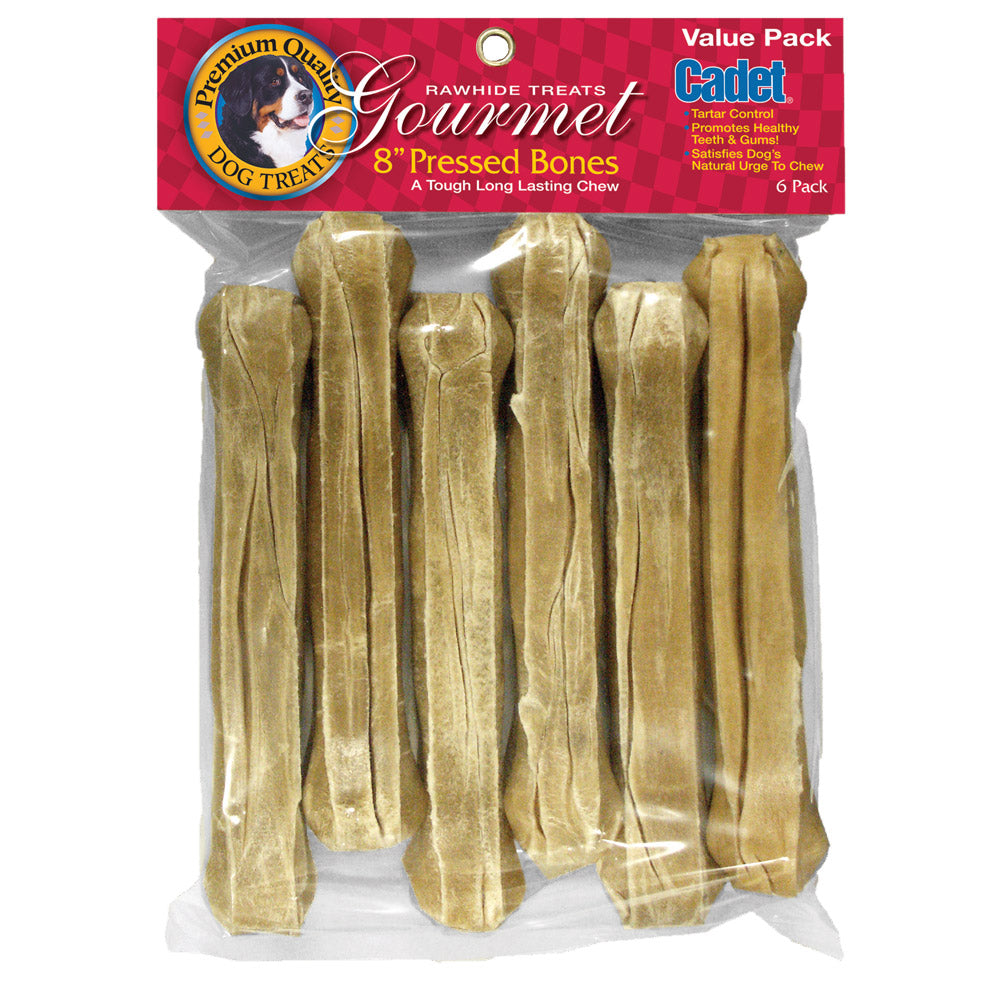 Cadet Pressed Rawhide Bones 8 inches 6 pack - ViTaiLity Pet Supply