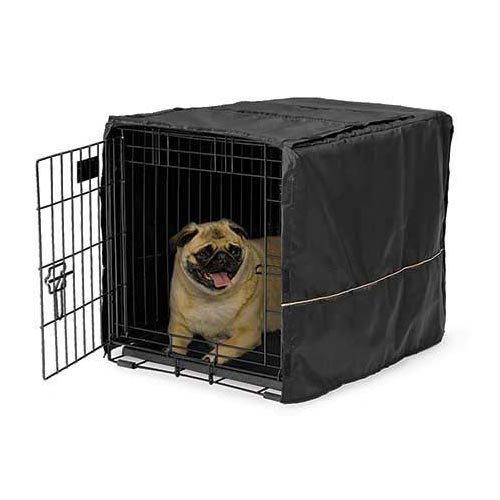 "Midwest Quiet Time Pet Crate Cover Black 24.5"" x 17.5"" x 19"" - ViTaiLity Pet Supply"