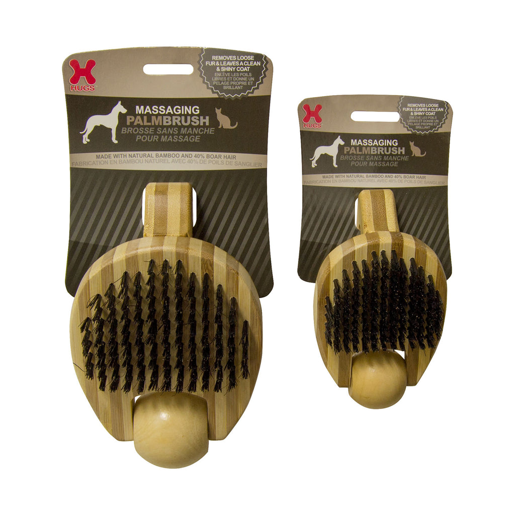 "Hugs Pet Products Massaging Pet Palm Brush Large Brown 6.5"" x 4"" x 3"" - ViTaiLity Pet Supply"