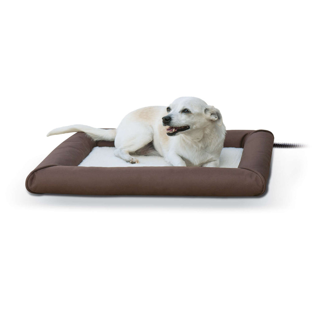 "K&H Pet Products Deluxe Lectro-Soft Outdoor Heated Pet Bed Small Brown 19.5"" x 23"" x 2.5"" - ViTaiLity Pet Supply"