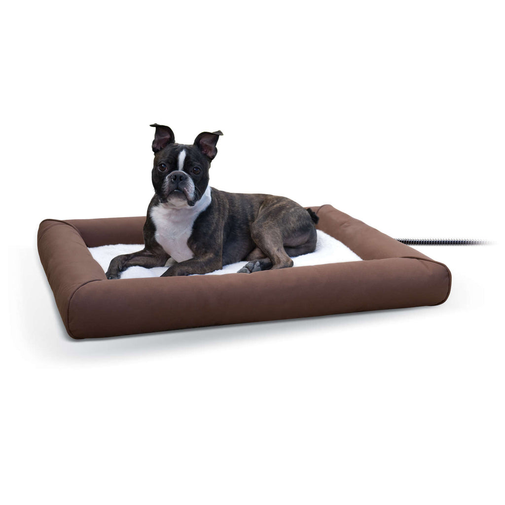 "K&H Pet Products Deluxe Lectro-Soft Outdoor Heated Pet Bed Medium Brown 26.5"" x 30.5"" x 3.5"" - ViTaiLity Pet Supply"
