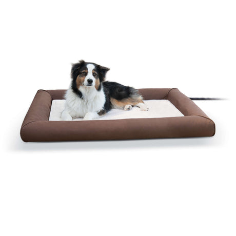 "K&H Pet Products Deluxe Lectro-Soft Outdoor Heated Pet Bed Large Brown 34.5"" x 44.5"" x 4.5"" - ViTaiLity Pet Supply"