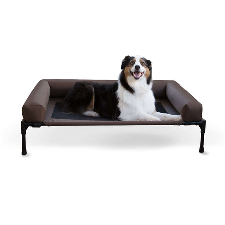 "K&H Pet Products Original Bolster Pet Cot Large Chocolate 30"" x 42"" x 7"" - ViTaiLity Pet Supply"