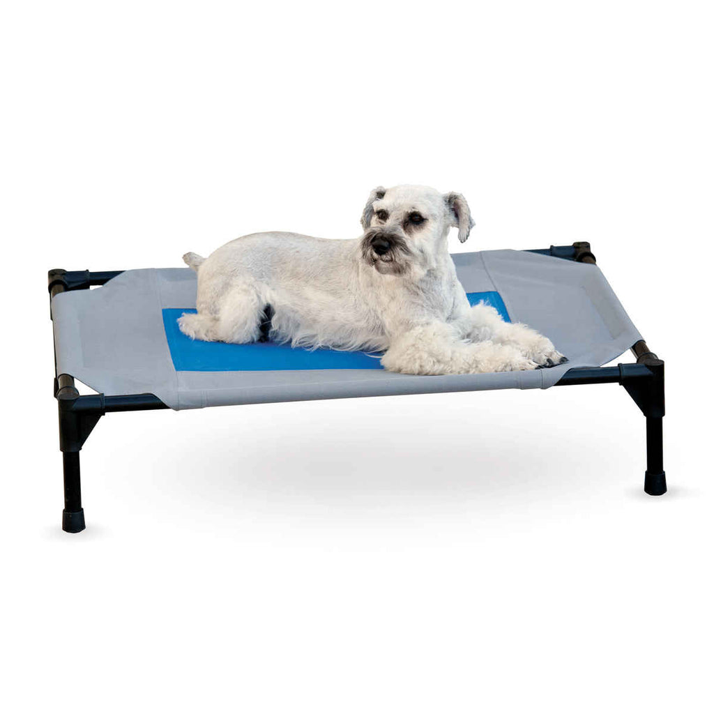 "K&H Pet Products Coolin' Pet Cot Medium Gray / Blue 25"" x 32"" x 7"" - ViTaiLity Pet Supply"