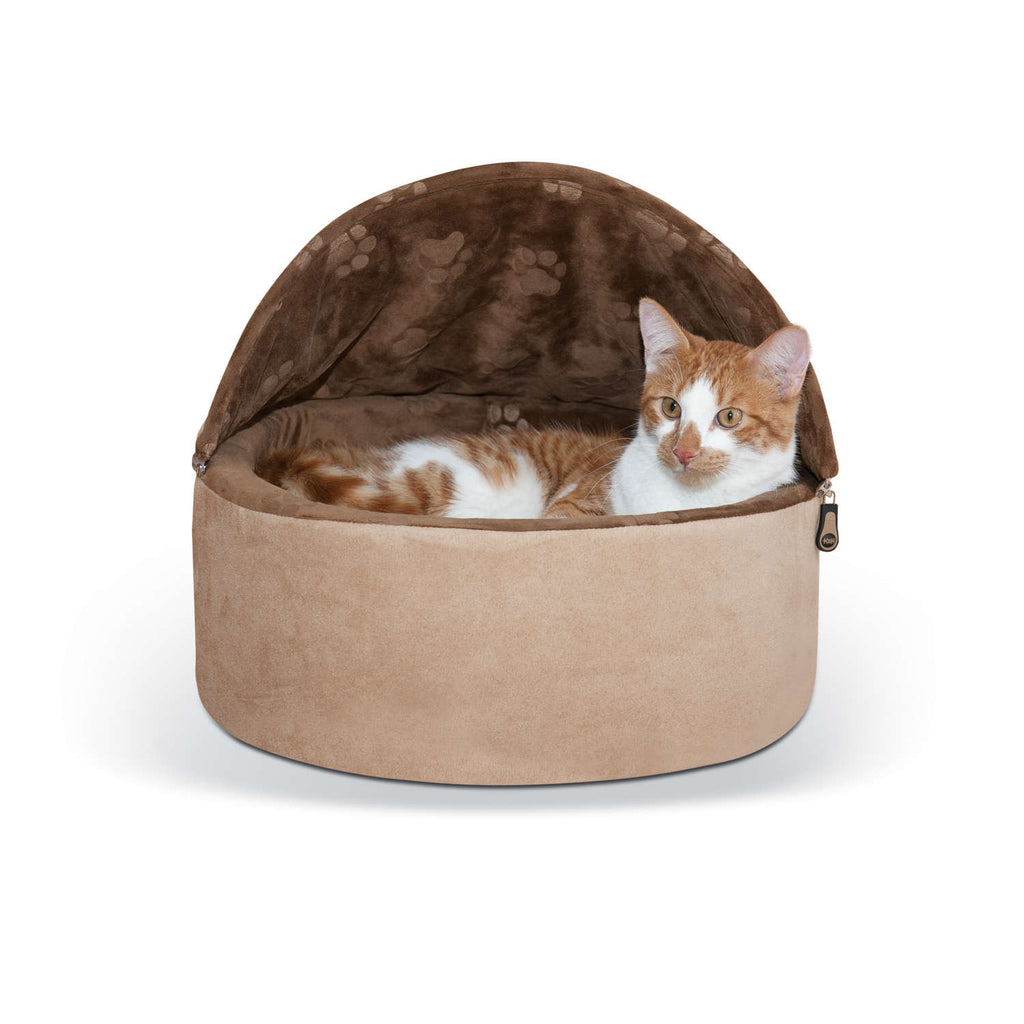 "K&H Pet Products Self-Warming Kitty Bed Hooded Small Chocolate/Tan 16"" x 16"" x 12.5"" - ViTaiLity Pet Supply"