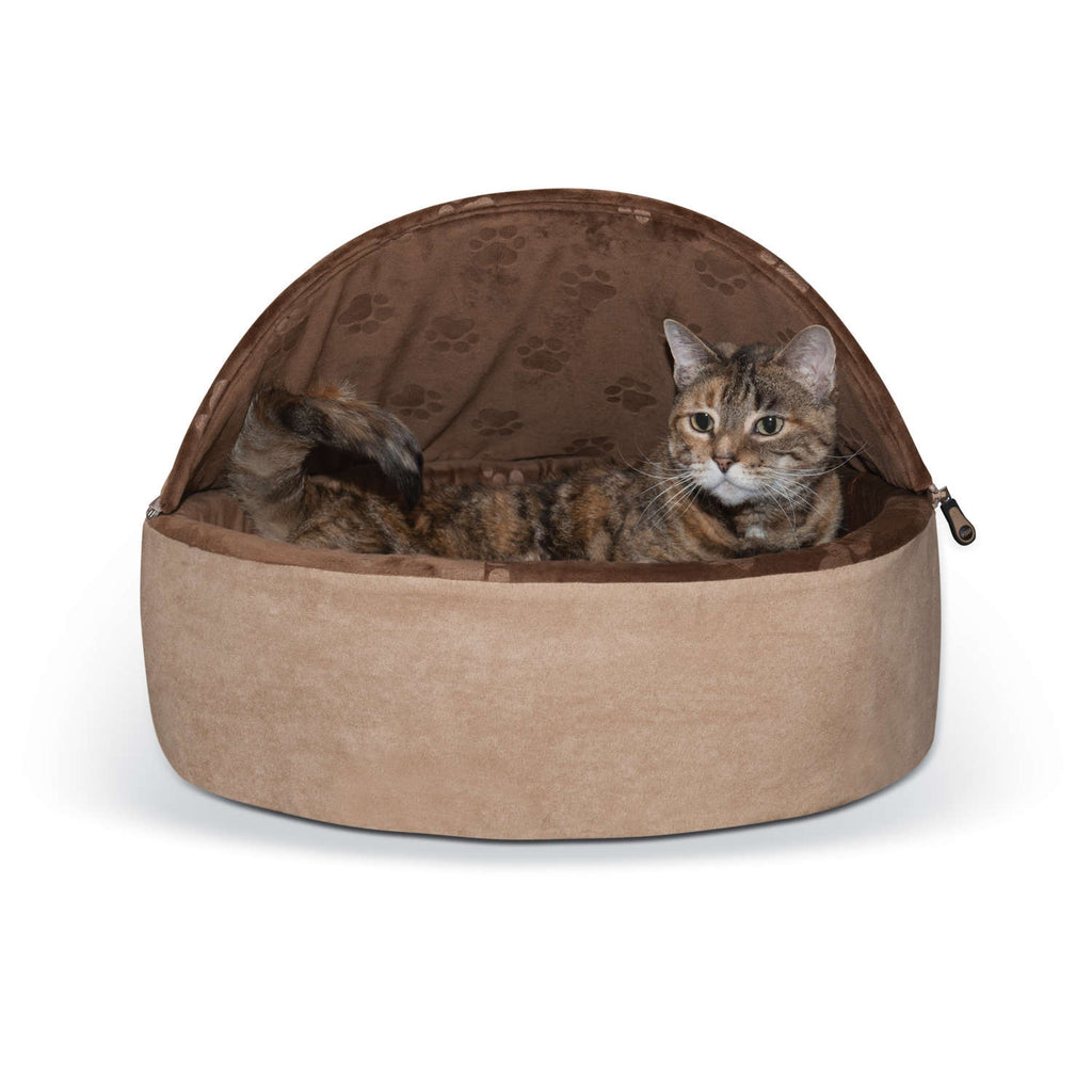 "K&H Pet Products Self-Warming Kitty Bed Hooded Large Chocolate/Tan 20"" x 20"" x 12.5"" - ViTaiLity Pet Supply"