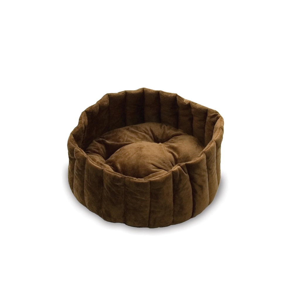 "K&H Pet Products Kitty Kup Bed Small Tan / Mocha 16"" x 16"" x 7"" - ViTaiLity Pet Supply"
