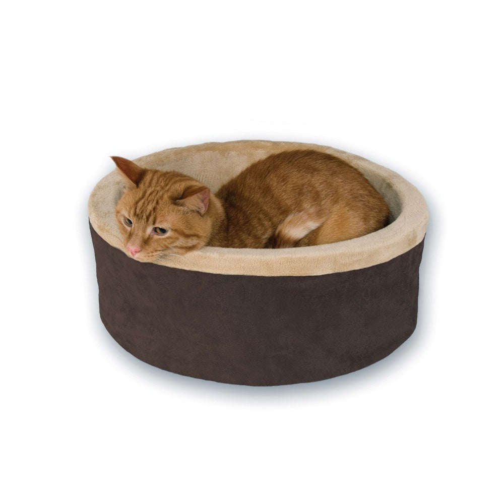 "K&H Pet Products Thermo-Kitty Bed Large Mocha 20"" x 20"" x 6"" - ViTaiLity Pet Supply"