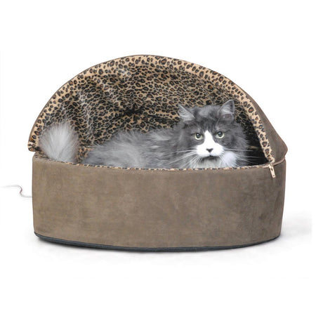 "K&H Pet Products Thermo-Kitty Bed Deluxe Hooded Large Mocha 20"" x 20"" x 14"" - ViTaiLity Pet Supply"