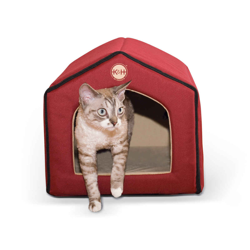 "K&H Pet Products Unheated Indoor Pet House Red / Tan 16"" x 15"" x 14"" - ViTaiLity Pet Supply"