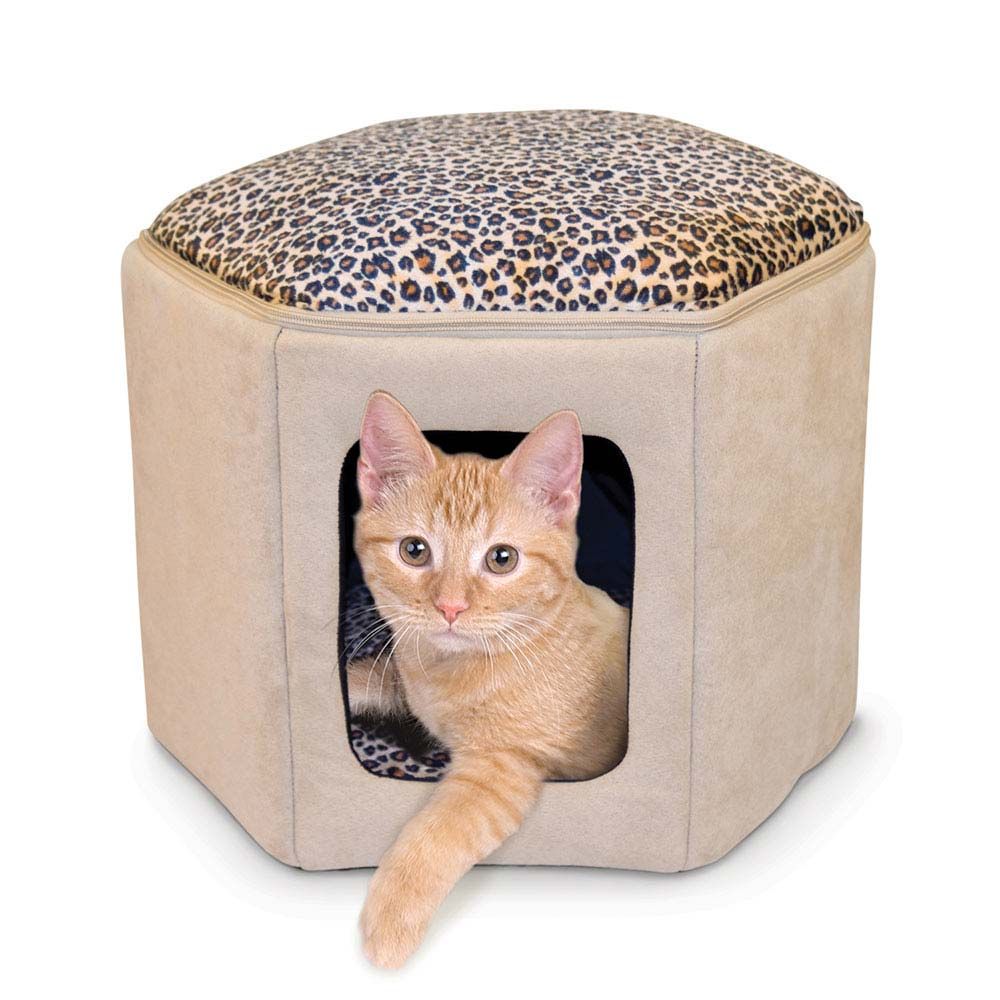 "K&H Pet Products Thermo-Kitty Sleephouse Tan / Leopard 17"" x 16"" x 13"" - ViTaiLity Pet Supply"