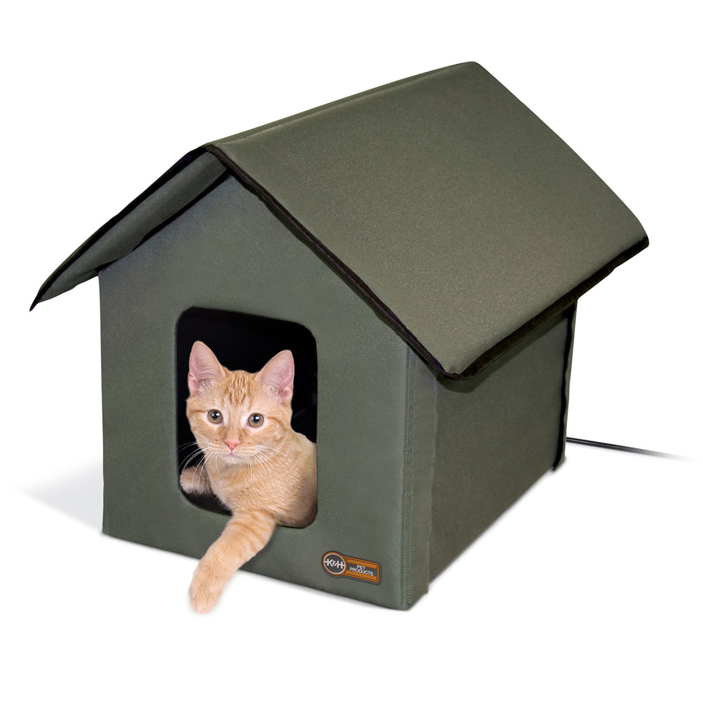 "K&H Pet Products Outdoor HEATED Kitty House Olive 22"" x 18"" x 17"" - ViTaiLity Pet Supply"