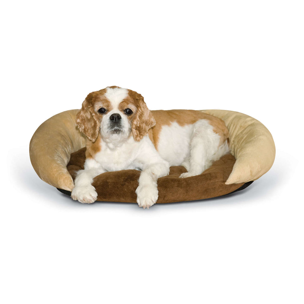 "K&H Pet Products Self-Warming Bolster Bed Chocolate/Tan 14"" x 17"" x 5"" - ViTaiLity Pet Supply"
