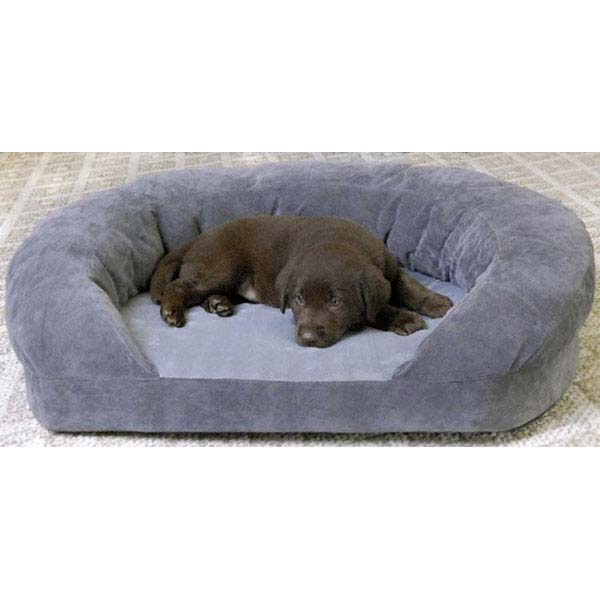 "K&H Pet Products Ortho Bolster Sleeper Pet Bed Medium Gray Velvet 30"" x 25"" x 9"" - ViTaiLity Pet Supply"