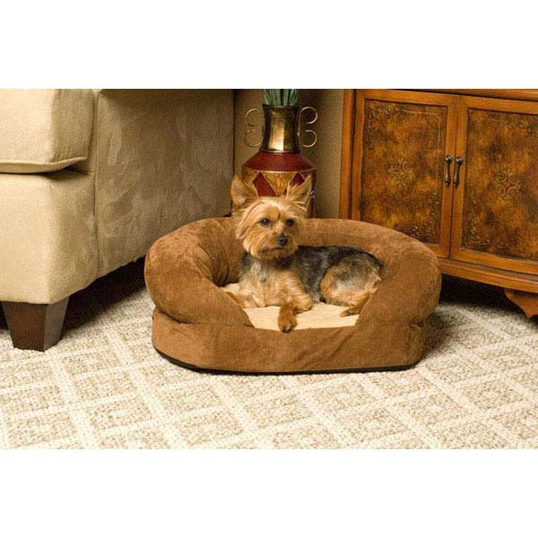 "K&H Pet Products Ortho Bolster Sleeper Pet Bed Large Brown Velvet 40"" x 33"" x 9.5"" - ViTaiLity Pet Supply"
