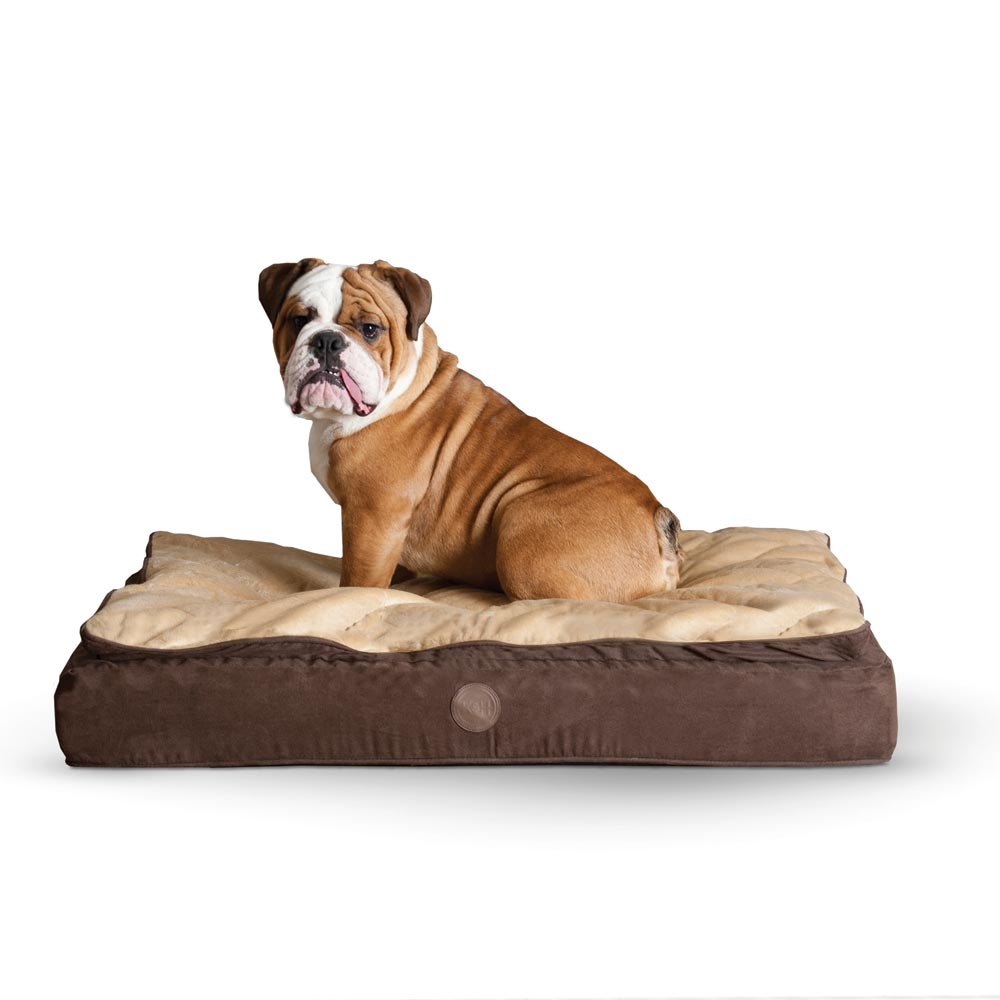 "K&H Pet Products Feather Top Ortho Pet Bed Medium Chocolate / Tan 30"" x 40"" x 6.5"" - ViTaiLity Pet Supply"