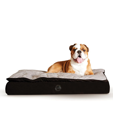 "K&H Pet Products Feather Top Ortho Pet Bed Medium Black / Gray 30"" x 40"" x 6.5"" - ViTaiLity Pet Supply"