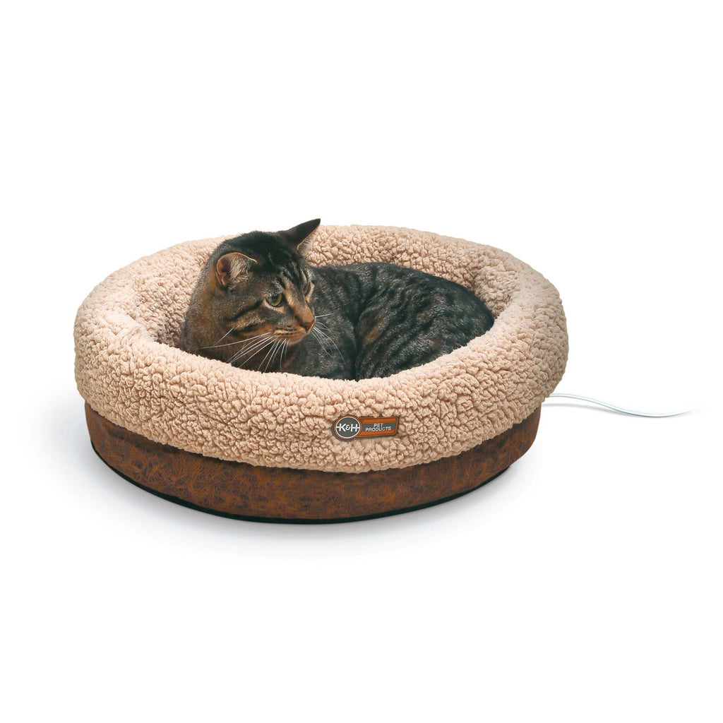 "K&H Pet Products Thermo-Snuggle Cup Pet Bed Bomber Chocolate 14"" x 18"" x 7"" - ViTaiLity Pet Supply"