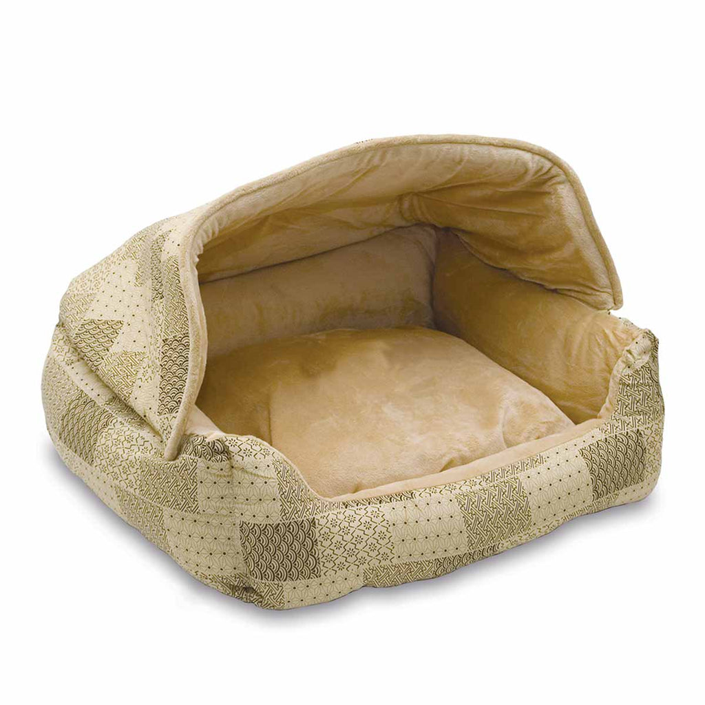 "K&H Pet Products Lounge Sleeper Hooded Pet Bed Tan 20"" x 25"" x 13"" - ViTaiLity Pet Supply"