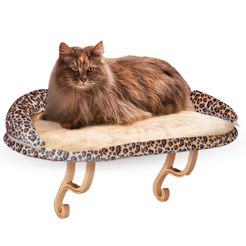 "K&H Pet Products Deluxe Kitty Sill with Bolster Leopard 14"" x 24"" x 10"" - ViTaiLity Pet Supply"