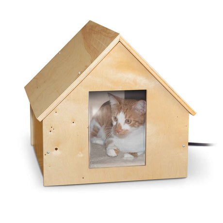 "K&H Pet Products Birdwood Manor Thermo-Kitty House Wood 18"" x 16"" x 15"" - ViTaiLity Pet Supply"