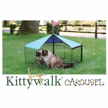 "Kittywalk Carousel Outdoor Cat Enclosure Green 48"" x 48"" x 24"" - ViTaiLity Pet Supply"