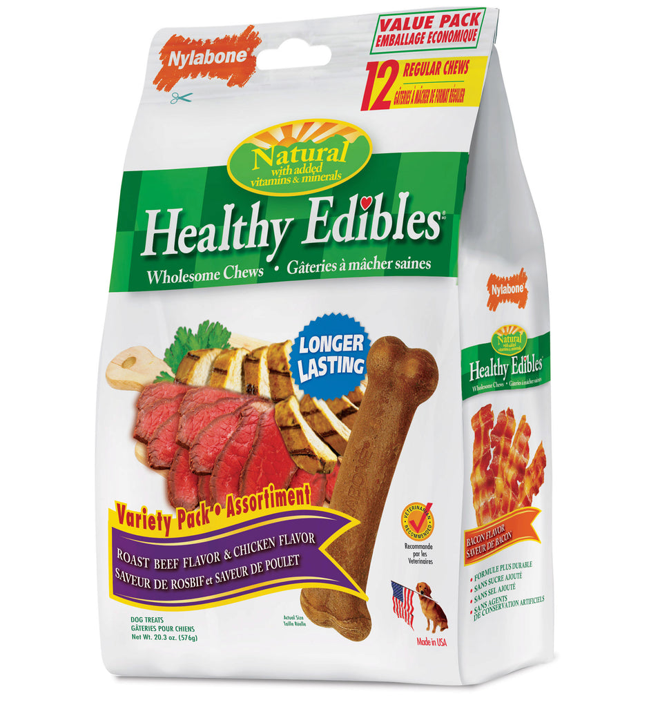 Nylabone Healthy Edibles Longer Lasting Roast Beef and Chicken Treats Regular 12 count - ViTaiLity Pet Supply
