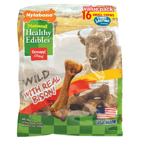 Nylabone Healthy Edibles Wild Chew Treats Bison Small 16 count - ViTaiLity Pet Supply