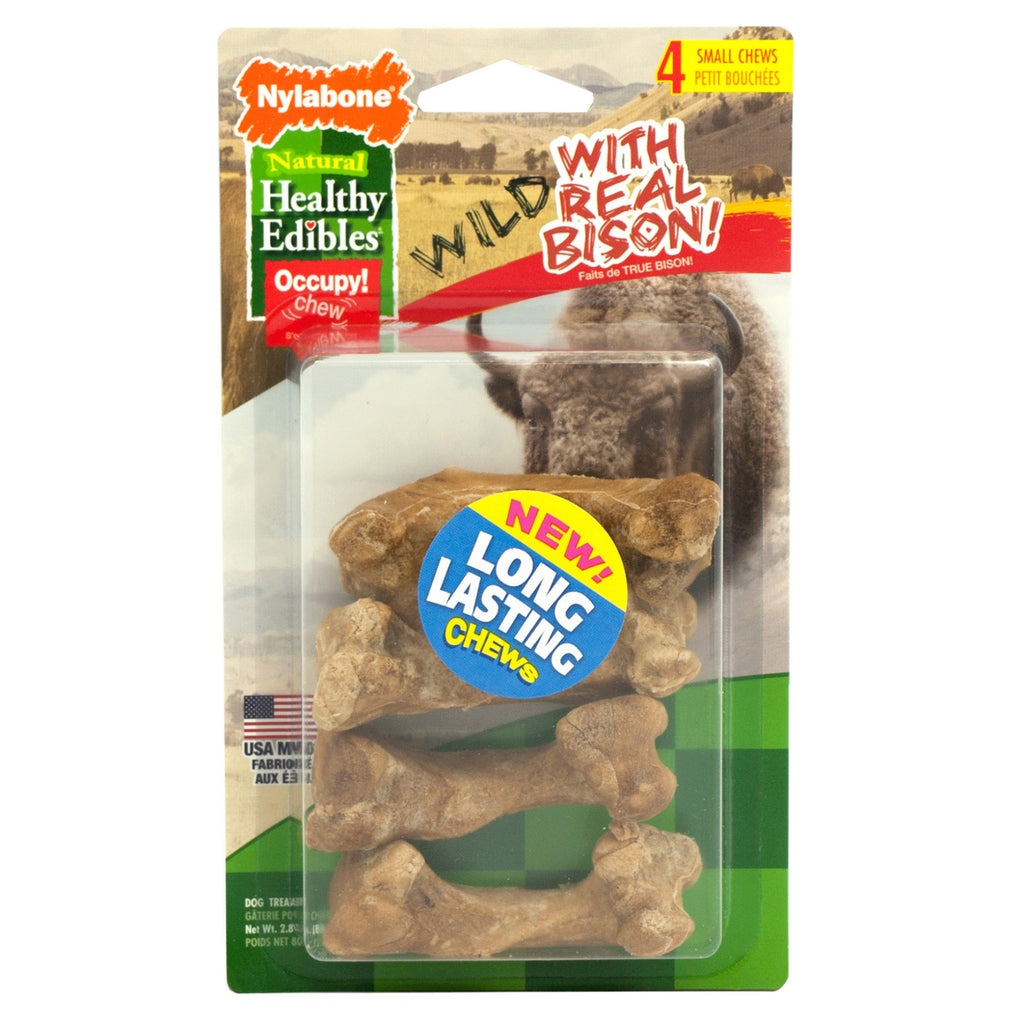 Nylabone Healthy Edibles Wild Chew Treats Bison Small 4 count - ViTaiLity Pet Supply