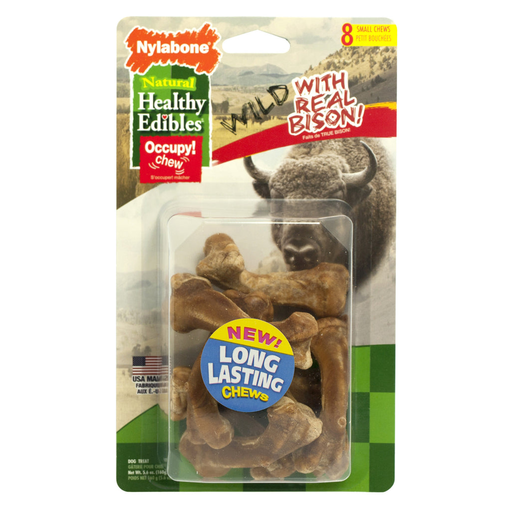 Nylabone Healthy Edibles Wild Chew Treats Bison Small 8 count - ViTaiLity Pet Supply