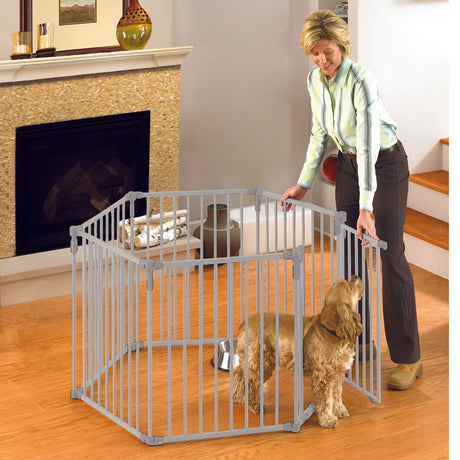 "North States 3-in-1 Metal Superyard Pet Pen 6 Panels White 24"" x 30"" - ViTaiLity Pet Supply"