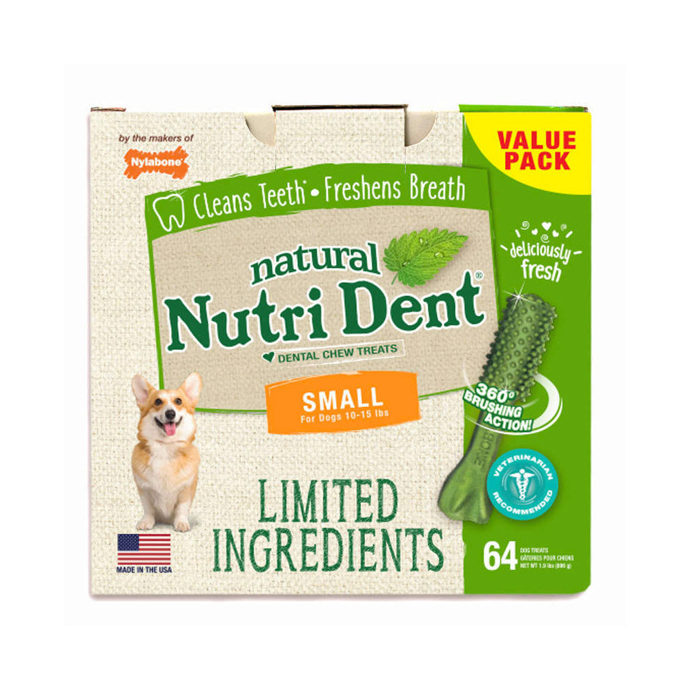 Nylabone Nutri Dent Limited Ingredient Dental Chews Fresh Breath Small 64 count - ViTaiLity Pet Supply