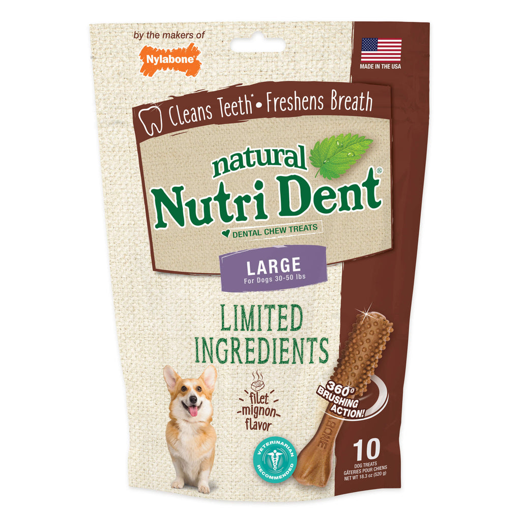 Nylabone Nutri Dent Limited Ingredient Dental Chews Filet Mignon Large 10 count - ViTaiLity Pet Supply