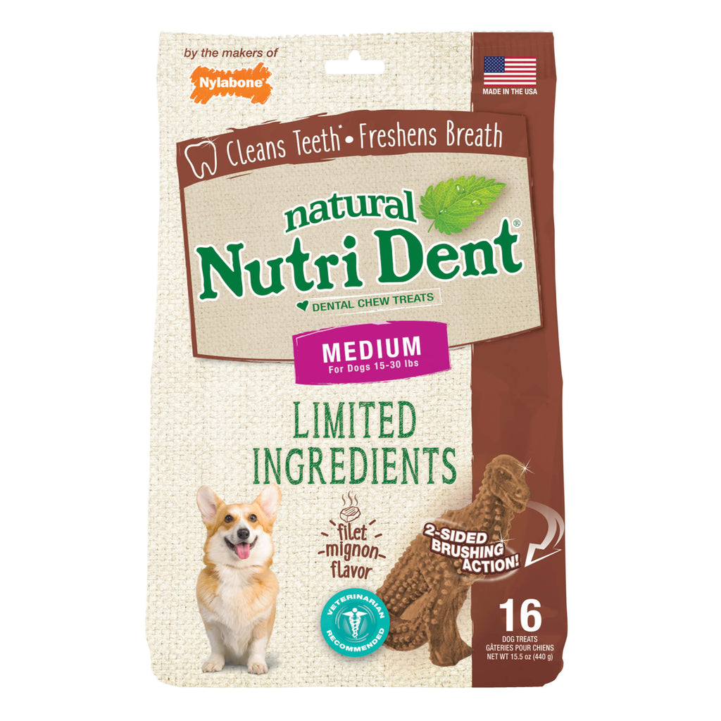 Nylabone Nutri Dent Limited Ingredient Dental Chews Filet Mignon T-Rex Medium 16 count - ViTaiLity Pet Supply