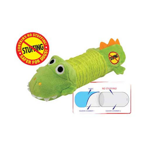 Petstages Stuffing Free Big Squeak Gator Green - ViTaiLity Pet Supply