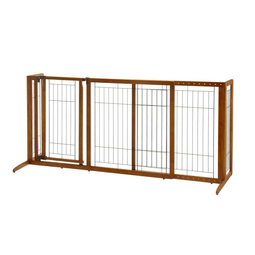 "Richell Deluxe Freestanding Pet Gate with Door Medium Brown 61.8 - 90.2"" x 24"" x 28.1"" - ViTaiLity Pet Supply"