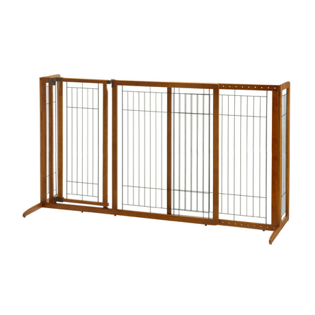 "Richell Deluxe Freestanding Pet Gate with Door Large Brown 61.8"" - 90.2"" x 27"" x 36.2"" - ViTaiLity Pet Supply"