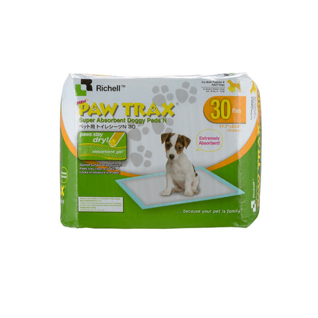 "Richell Paw Trax Pet Training Pads 30 Count White 17.7"" x 23.6"" x 0.2"" - ViTaiLity Pet Supply"